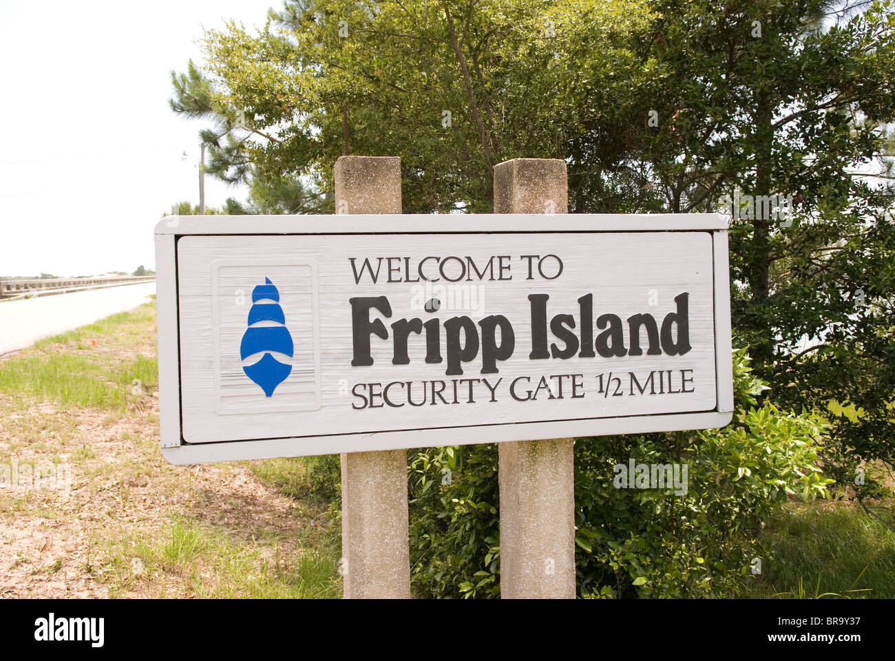 Bienvenue à Fripp Island Caroline du Sud USA signe Photo Stock