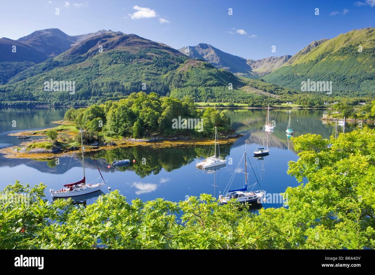 La baie d'évêques, le Loch Leven, Highland, Scotland, UK. Photo Stock