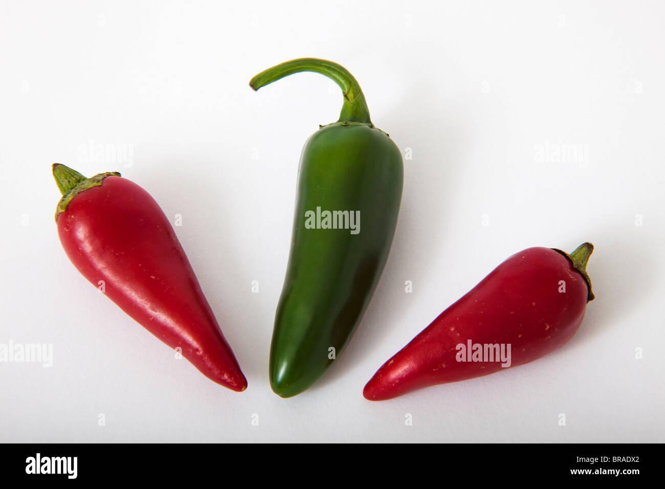 Rouge Vert hot chilie piments poivre Photo Stock