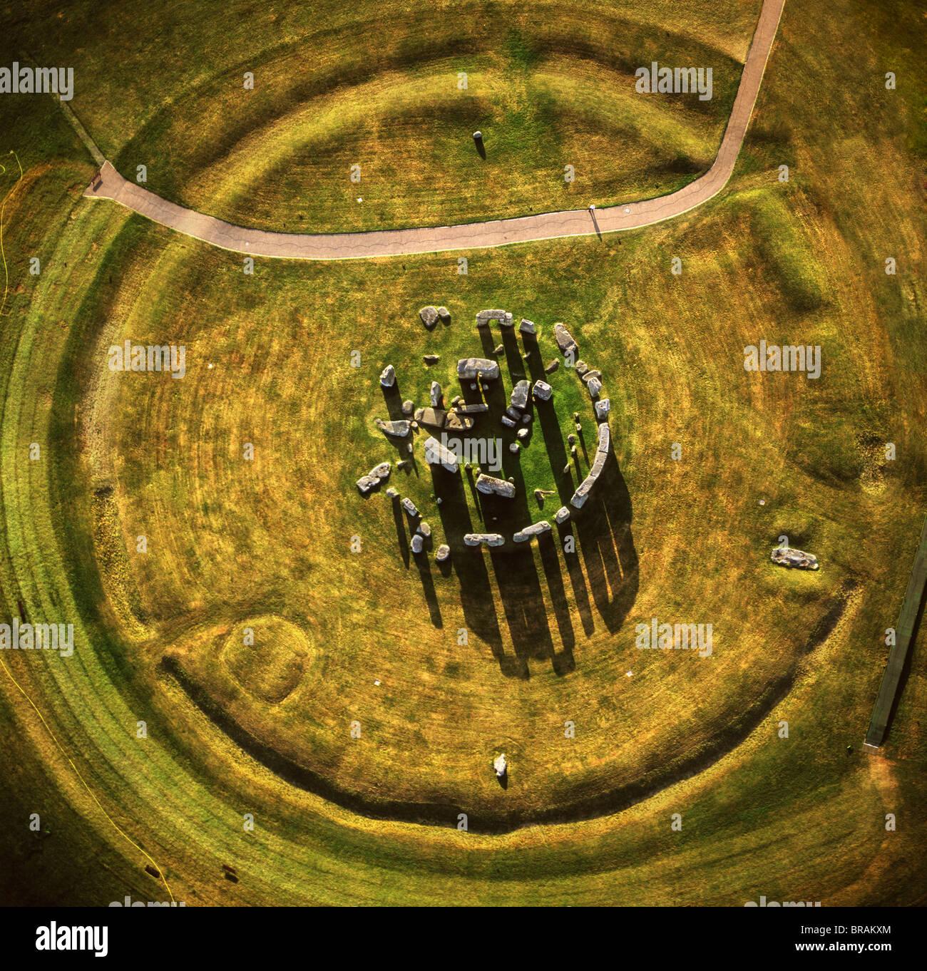Image aérienne de Stonehenge, monument préhistorique et Stone Circle, l'UNESCO, la plaine de Salisbury, Photo Stock
