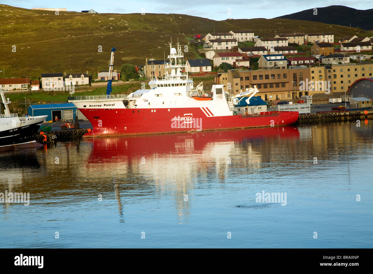 Navire de soutien de pétrel Acergy, Lerwick, Shetland, Scotland Photo Stock