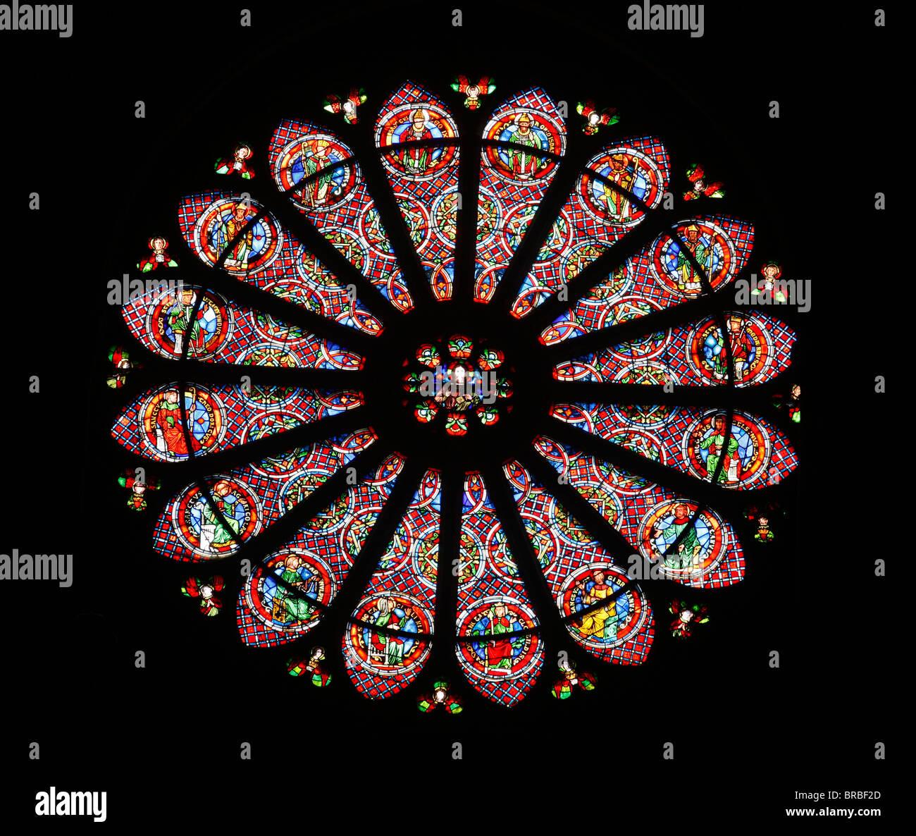 Rosace, basilique Saint Remy, UNESCO World Heritage Site, Reims, Marne, France Photo Stock