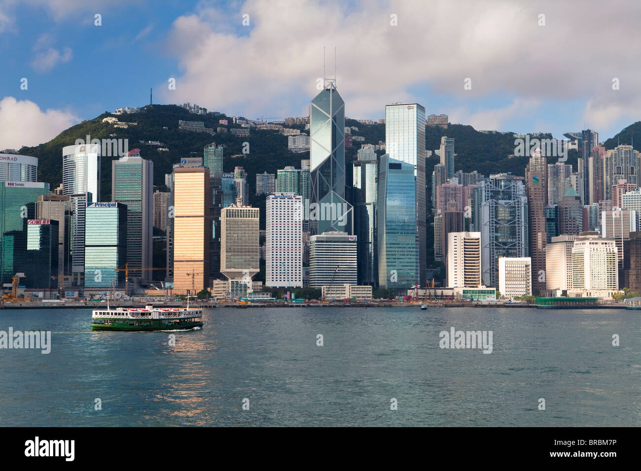 Toits de Central, l'île de Hong Kong, le port de Victoria, Hong Kong, Chine Photo Stock