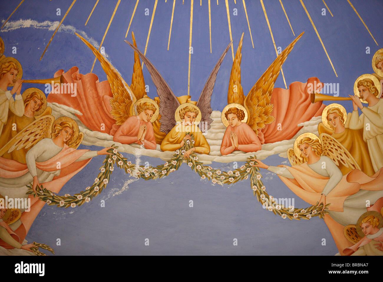 Détail des anges dans une fresque dans l'église De visite à Ein Kerem, Israël Photo Stock