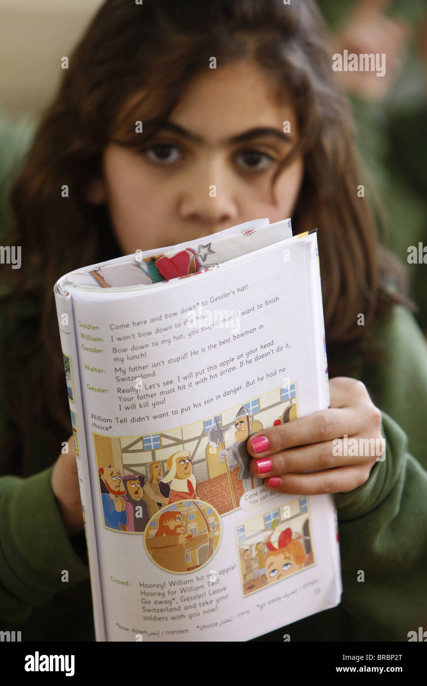En écolière palestinienne du séminaire Saint-Joseph (école secondaire), Nazareth, Tibériade, Photo Stock