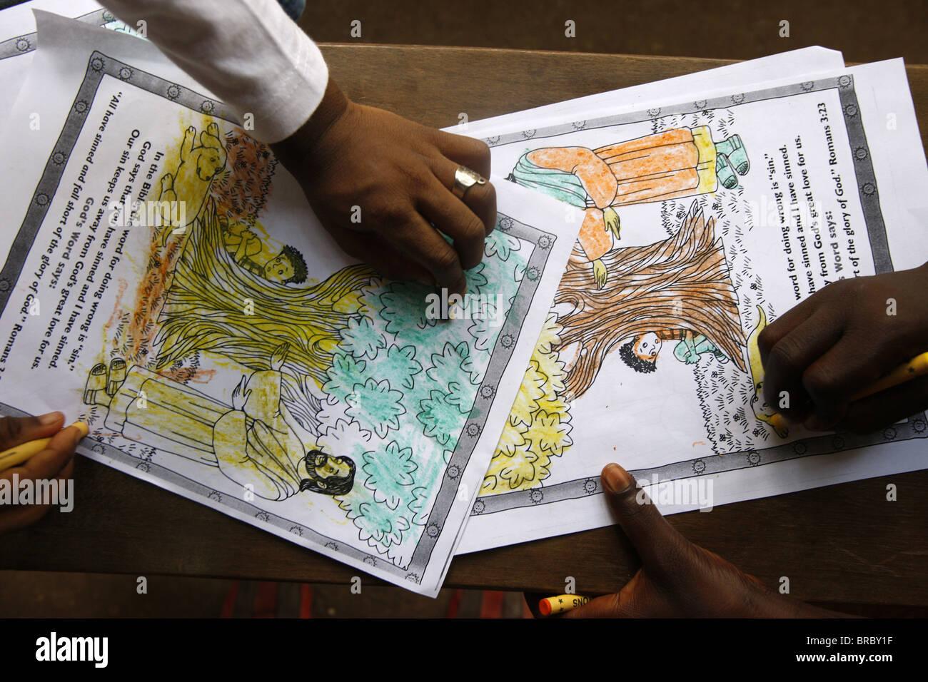 L'école du dimanche, Lomé, Togo, Afrique de l'Ouest Photo Stock