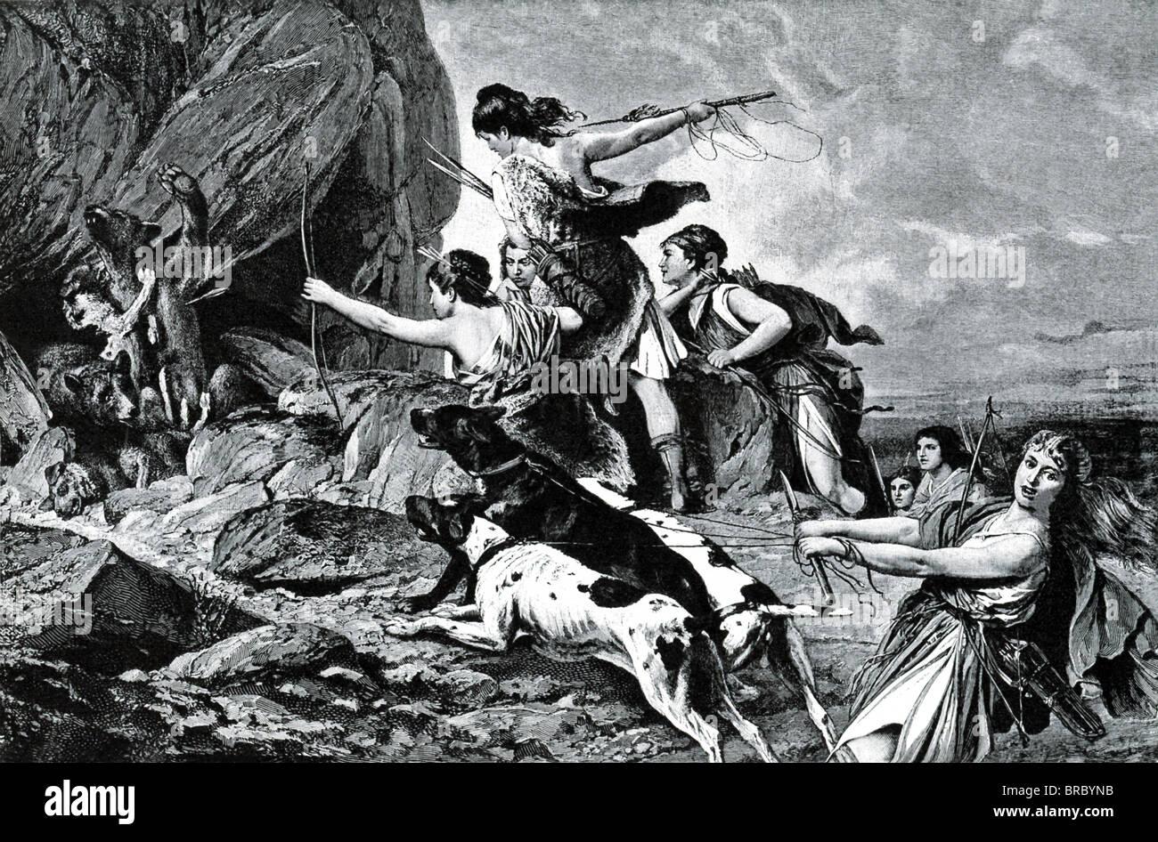 Selon la mythologie grecque, Amazones, montré ici la chasse, étaient une tribu de femmes qui chassaient Photo Stock