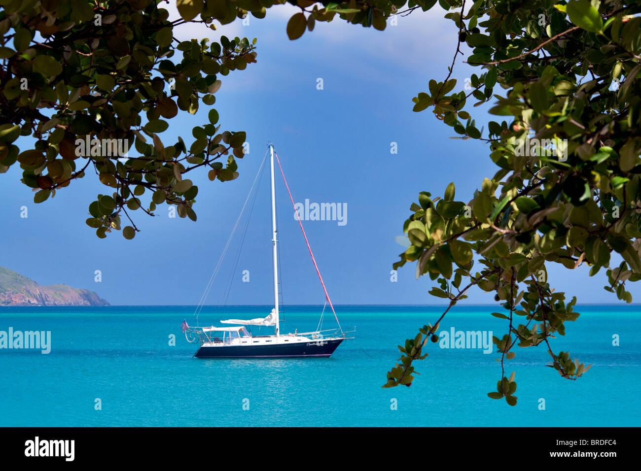 Voilier amarré à Megan's Bay. Saint Thomas. Îles Vierges Américaines Photo Stock