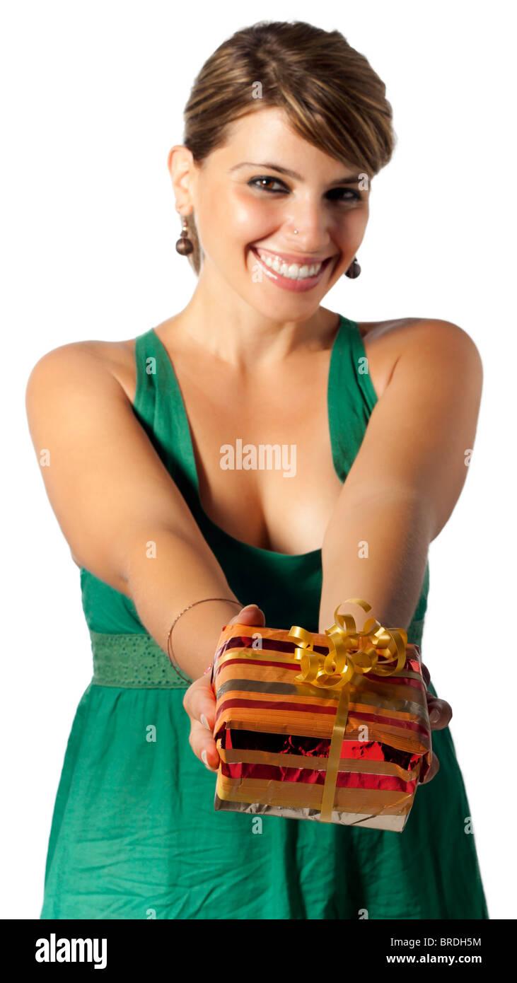 Femme avec présent Banque D'Images