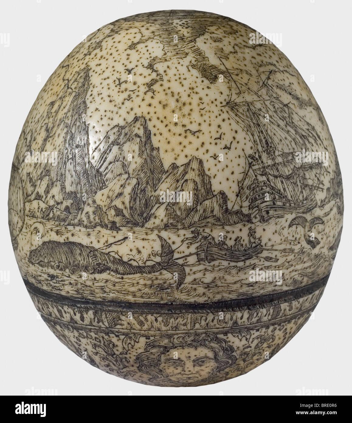 Gravée d'un œuf d'autruche, l'Angleterre ou la Scandinavie, vers 1700 Intact œuf d'autruche Photo Stock