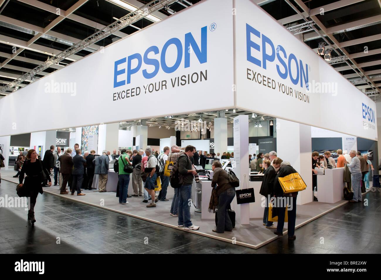 Stand au Salon Photokina Epson imagerie numérique trade show à Cologne Allemagne Banque D'Images