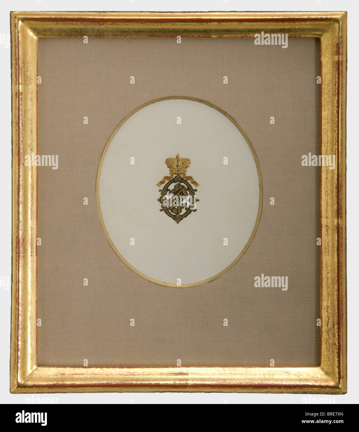 Une carte avec monogramme, vers 1880 'Olga' en couleur sous une couronne grand-ducal d'or gravée Photo Stock
