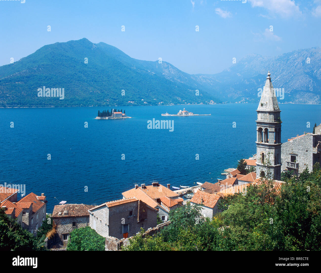 Perast, baie de Kotor, Monténégro Photo Stock