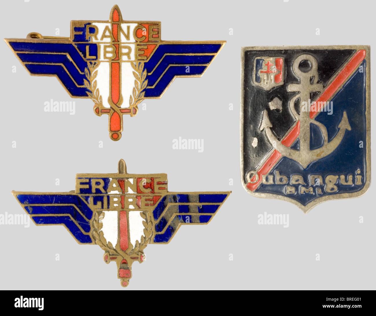 France 20ème siècle, rare ensemble d'insignes insignes privés service de la France Libre, comportant Photo Stock