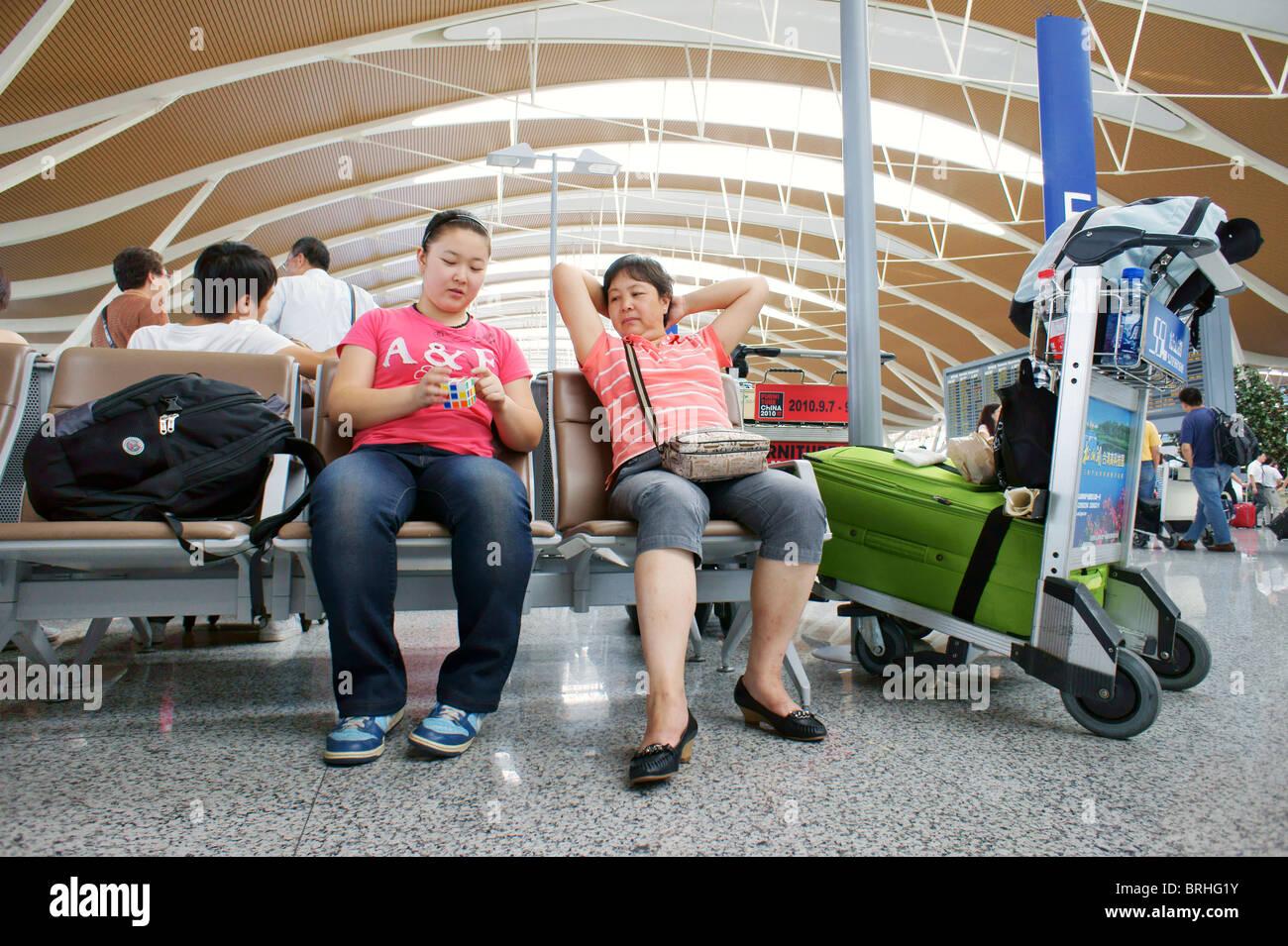 Shanghai, Chine. Zone de départ, l'Aéroport International de Pudong, Shanghai Photo Stock