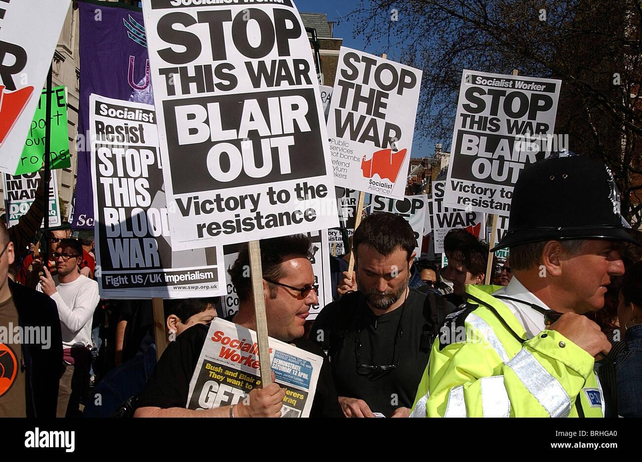 L'Anti war demo à Londres, 2003. Photo Stock