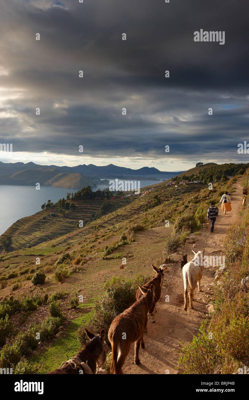 L'heure de pointe, l'Isla del Sol, le Lac Titicaca, en Bolivie Photo Stock