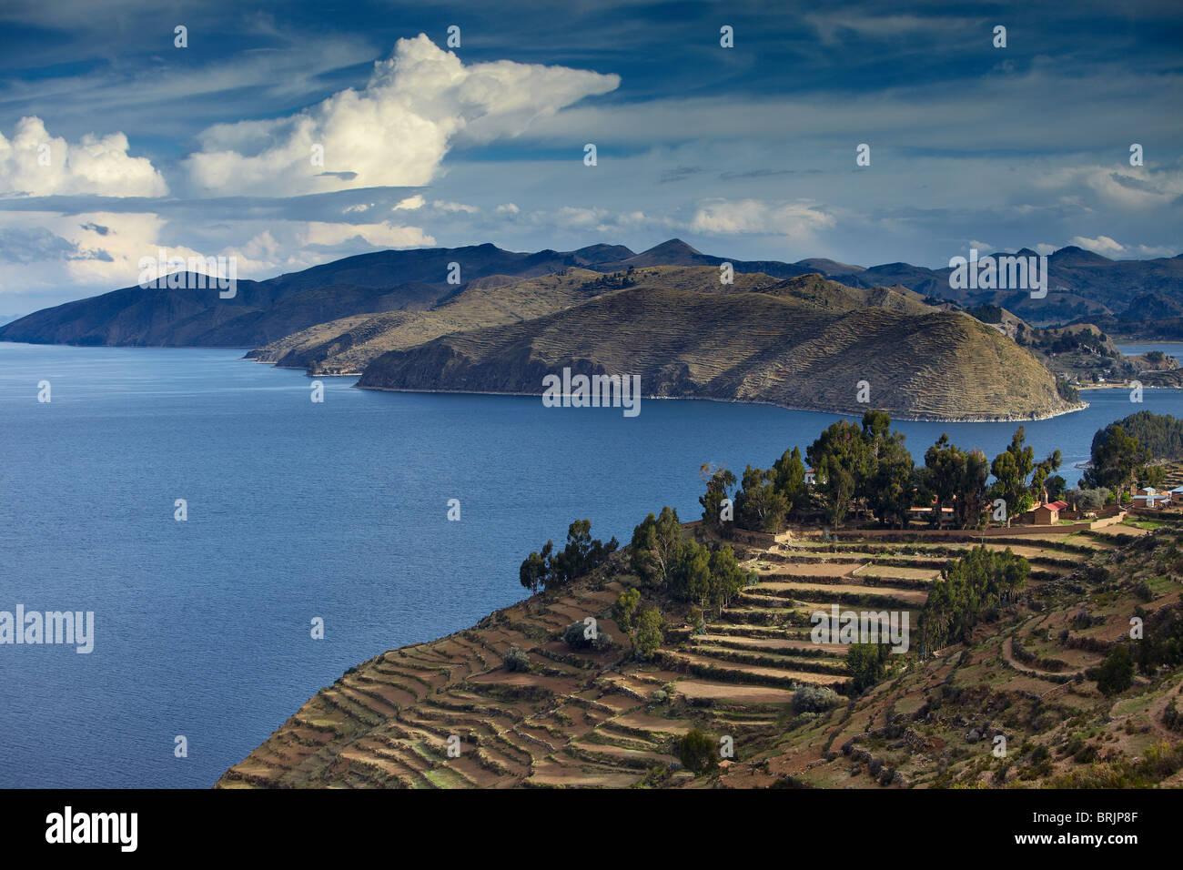 L'Isla del Sol, le Lac Titicaca, en Bolivie Photo Stock