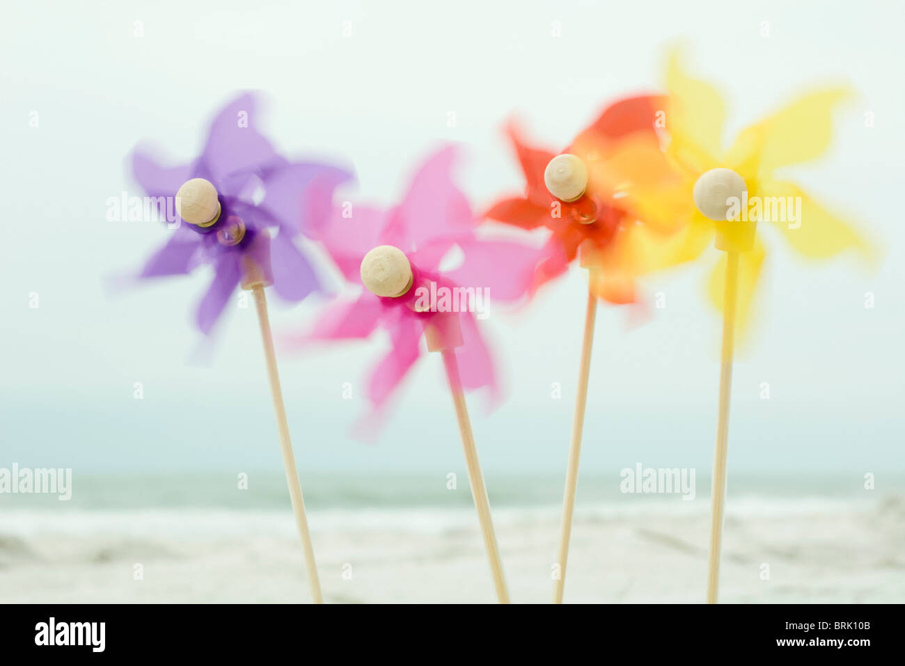 Pinwheels spinning in wind Photo Stock