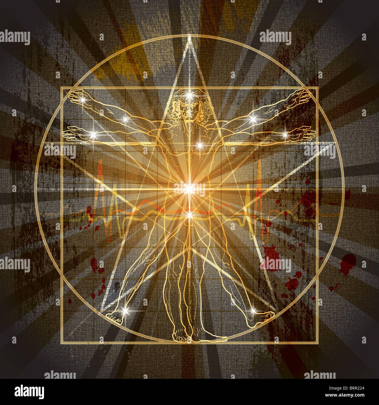 L'homme de Vitruve inscrit à l'époque médiévale pentagramme mystique Banque D'Images