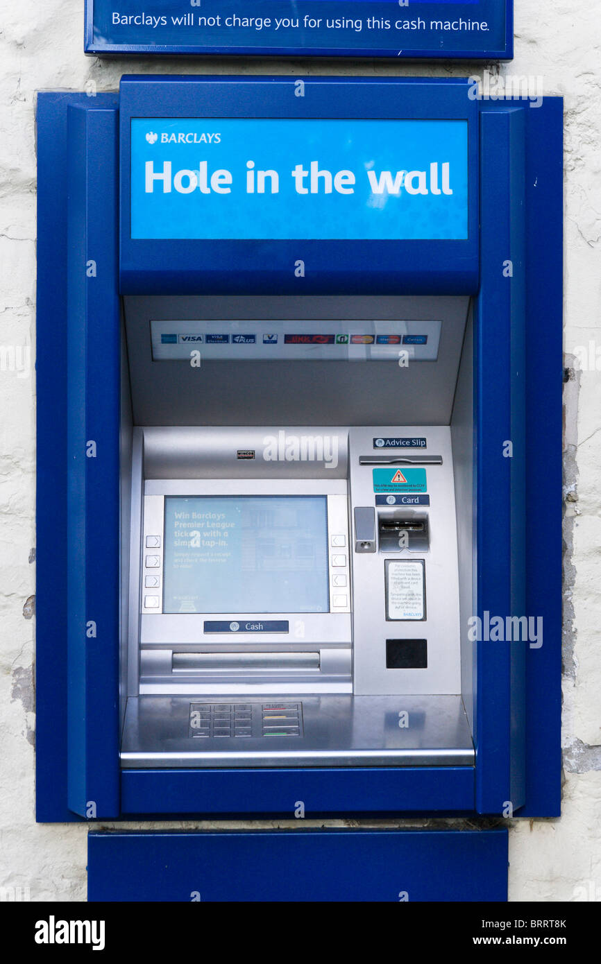 Barclays 'Hole in the Wall' cash machine, Malham, North Yorkshire, England, UK Photo Stock