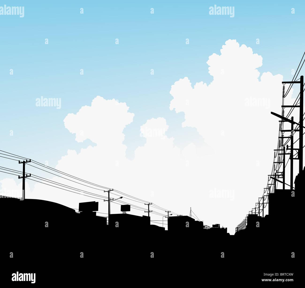 Illustration de nuages sur une ville avec l'espace de copie Photo Stock