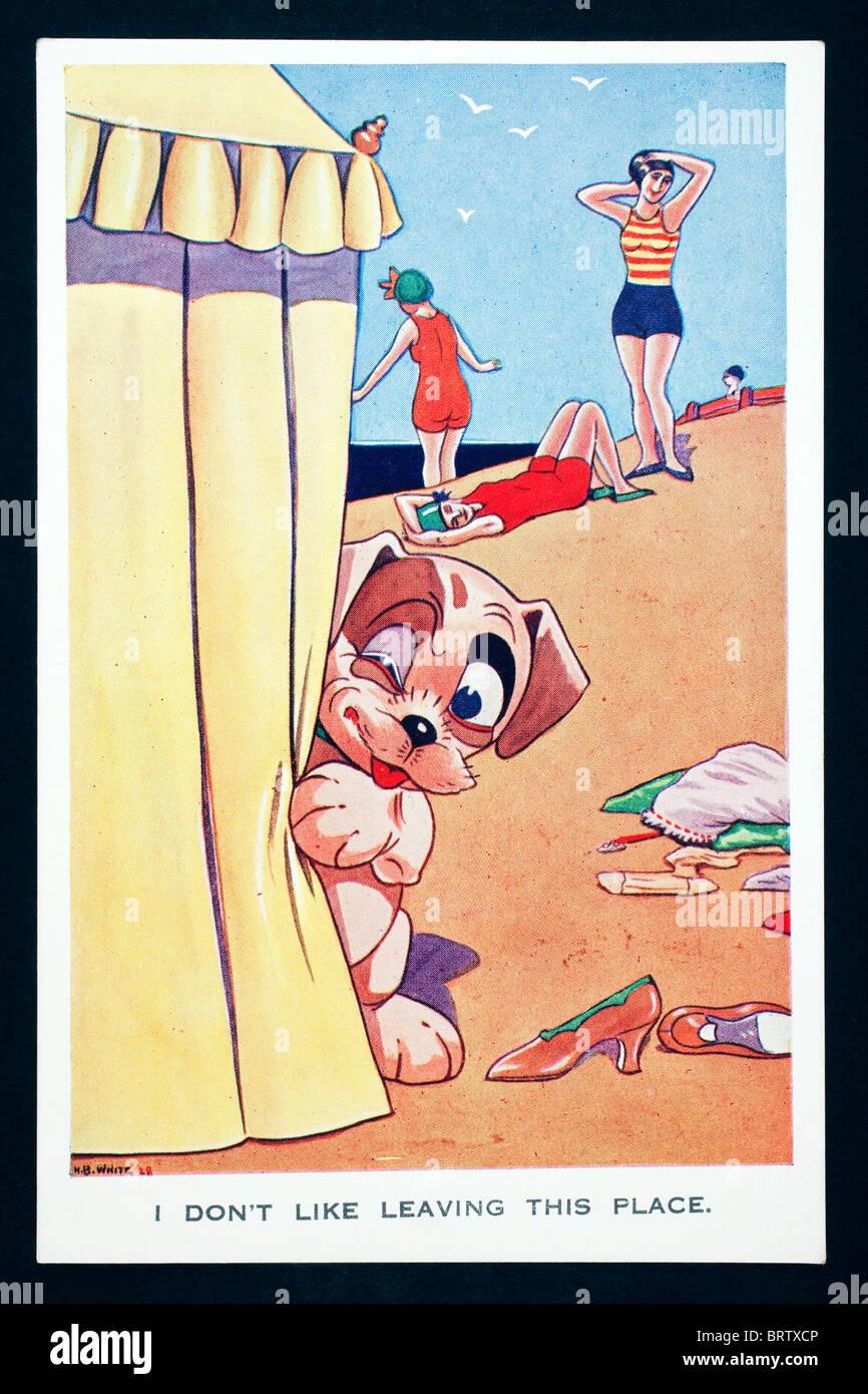 Station grivois post card par le caricaturiste britannique H B blanc Photo Stock