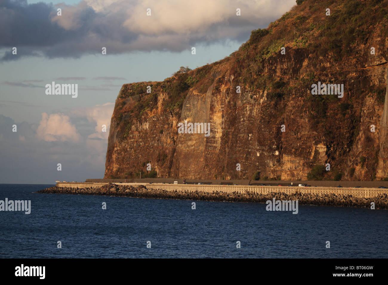 Route du littoral azur l'île de la réunion Photo Stock