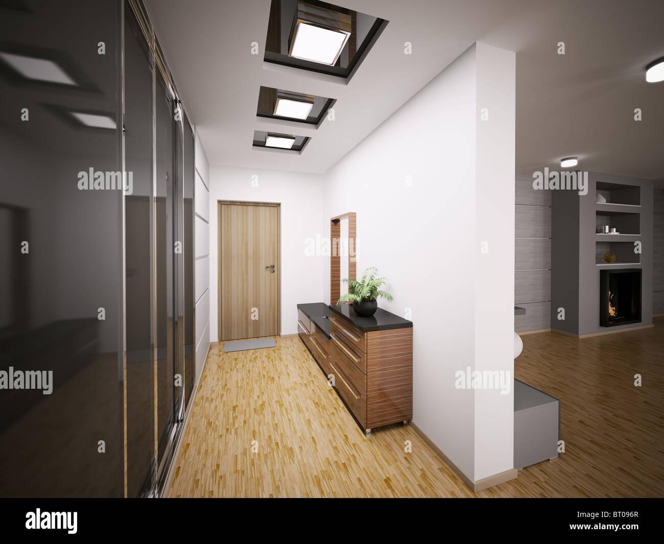 Intérieur du hall d\'entrée moderne en appartement 3D render ...