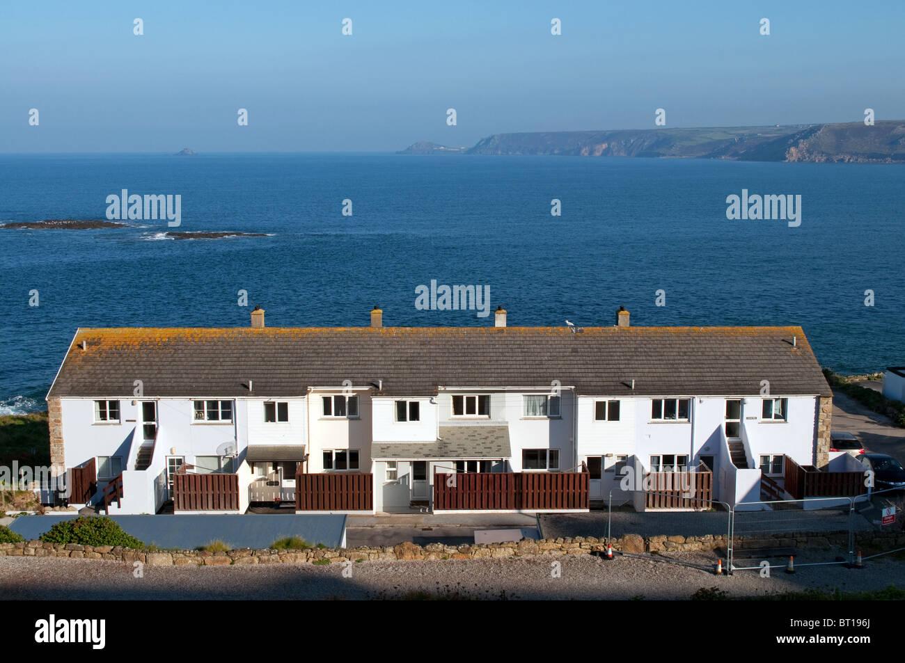 Appartements de vacances avec vue sur la baie à sennen Cove, à Cornwall, uk Photo Stock