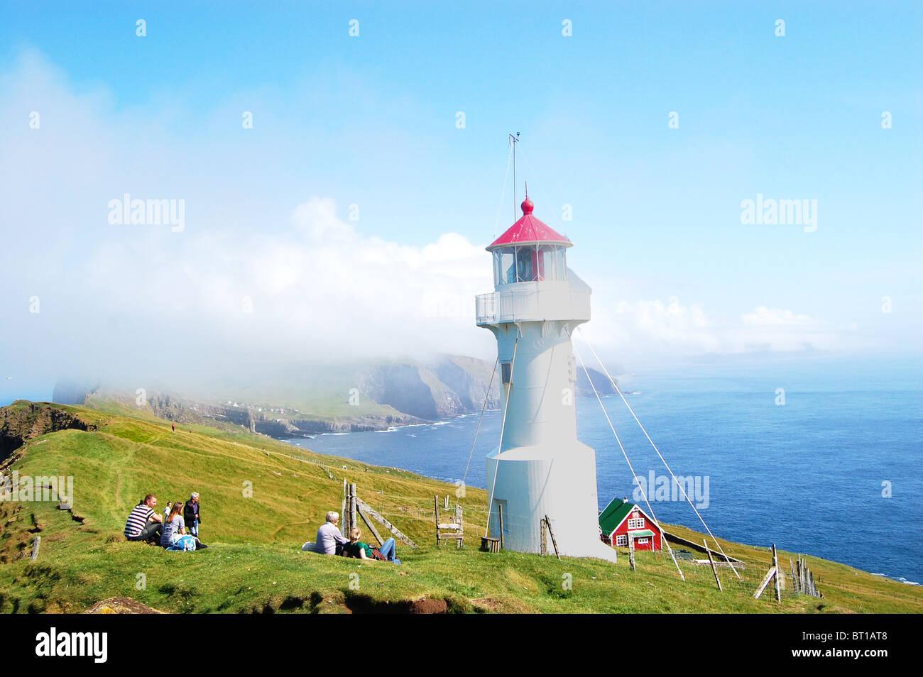 Lighthouse on Mykines, Faroe Islands Photo Stock
