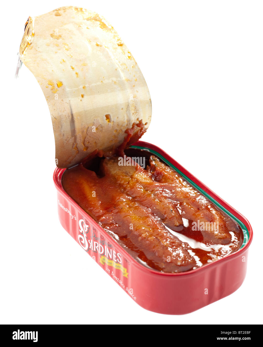Anneau ouvert boîte de sardines portugaises Sainsbury's Photo Stock