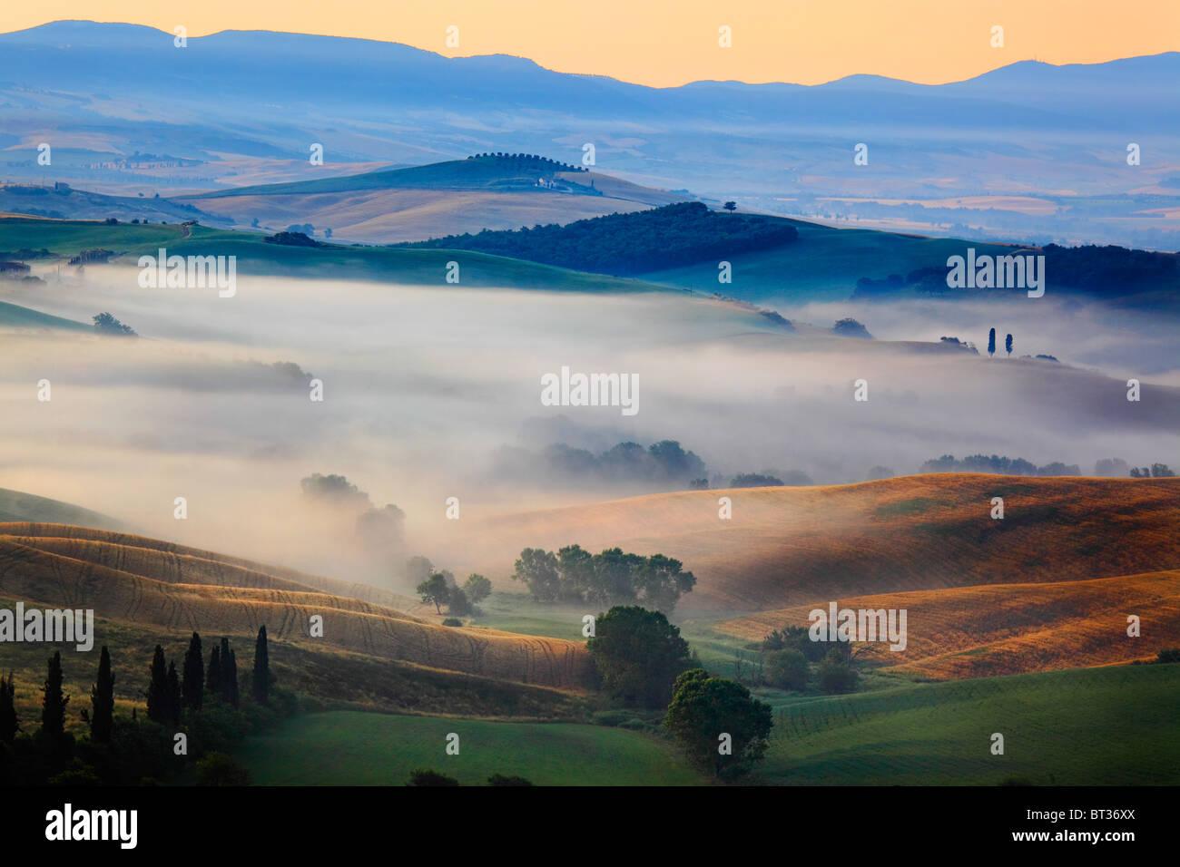 Val d'Orcia en Toscane province de l'Italie Photo Stock