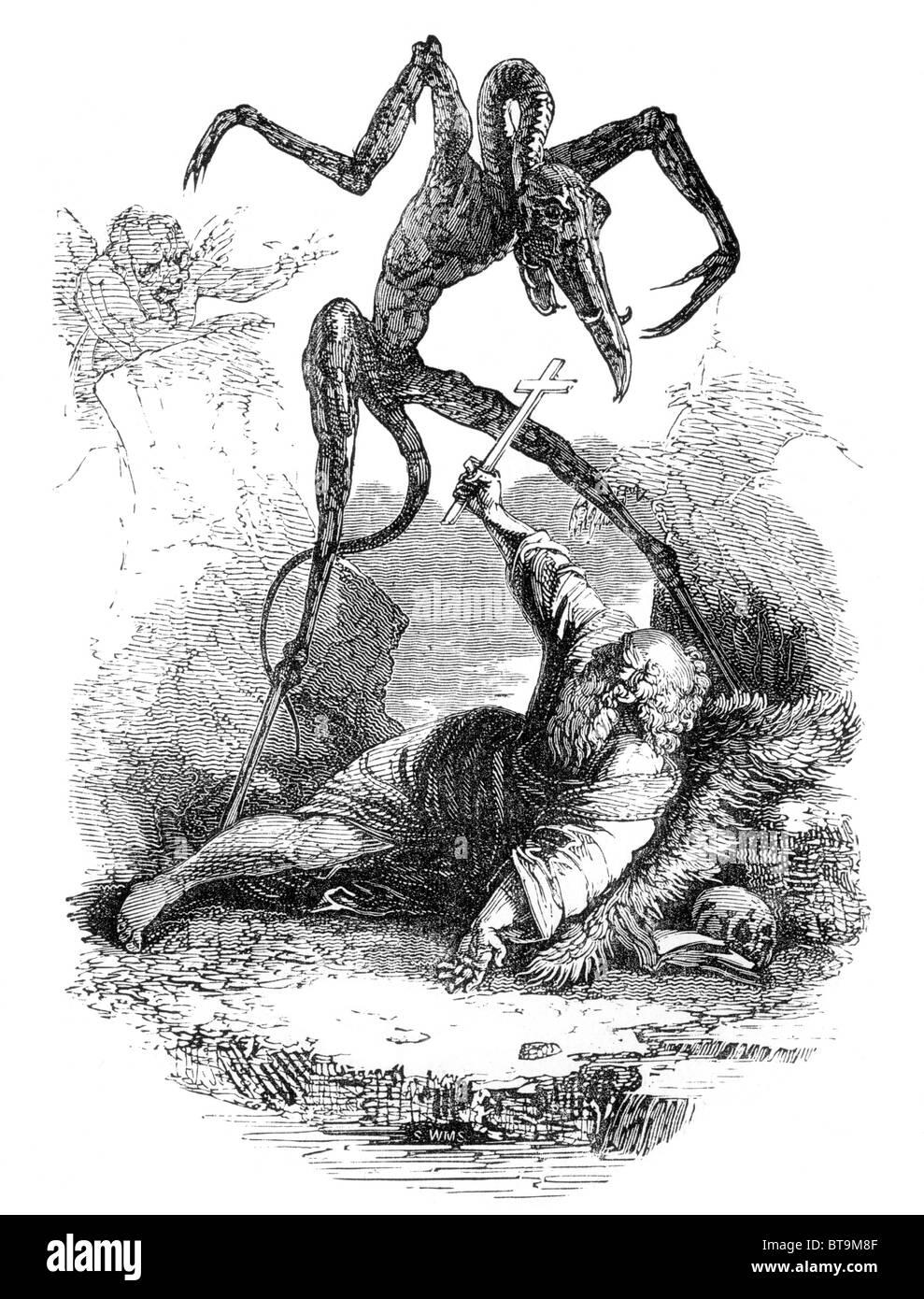 La Tentation de Saint Antoine le Grand; noir et blanc Illustration de William Hone's livre tous les jours Photo Stock