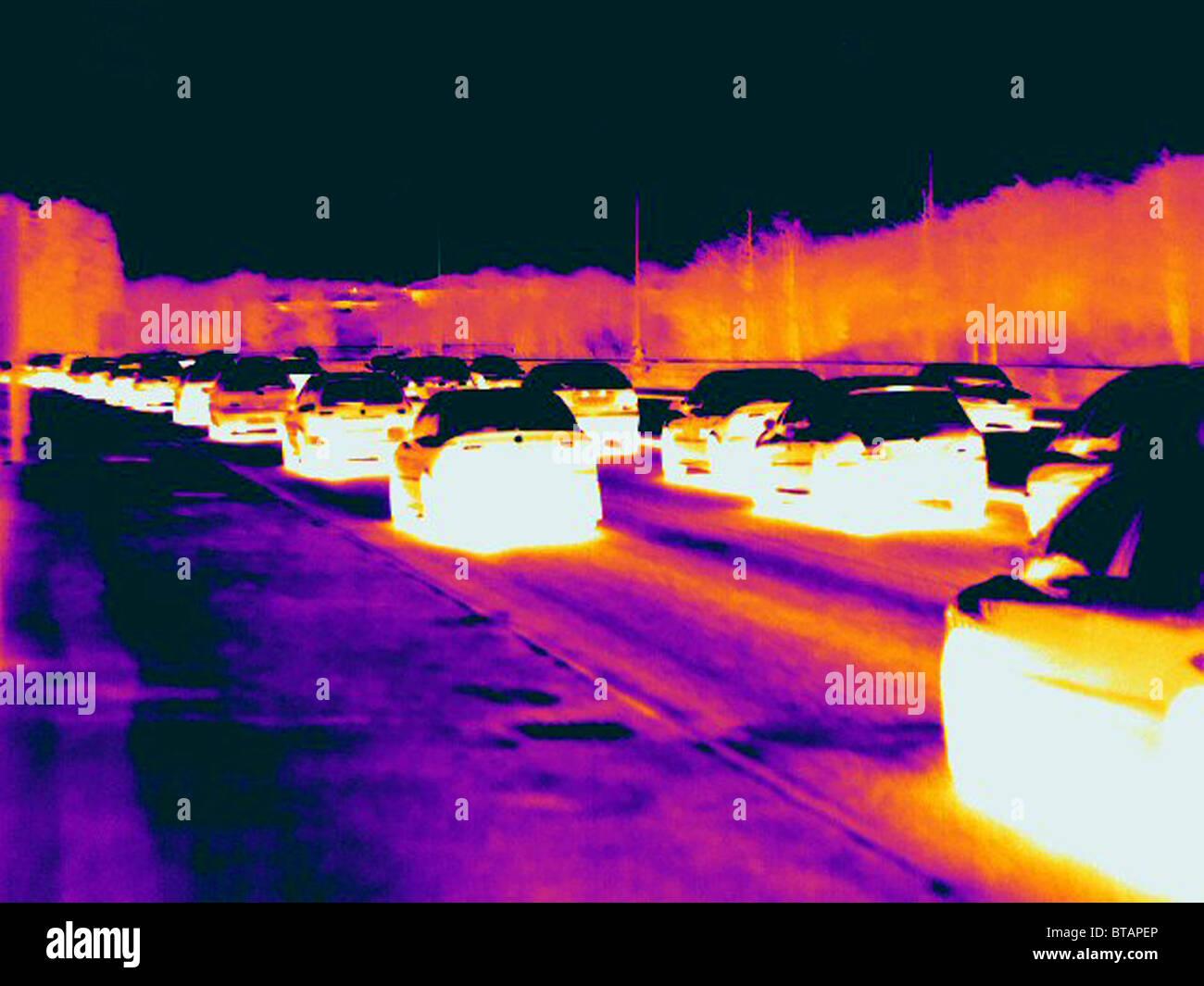 Image thermique d'un embouteillage Photo Stock