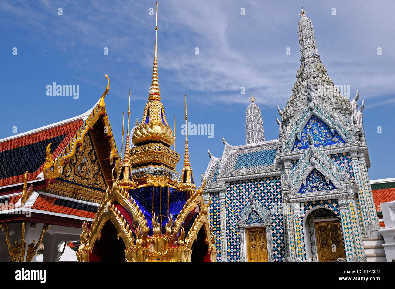 Le Grand Palace Bangkok Thaïlande Wat Phra Kaew Temple du Bouddha Émeraude Pierres Sema Sema Bai Double Banque D'Images