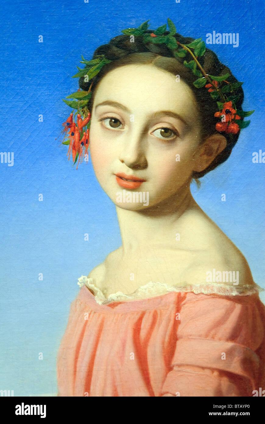 Close-up de la peinture: Faustine Léo (1832-1865), 1842, par Henri Lehmann Photo Stock