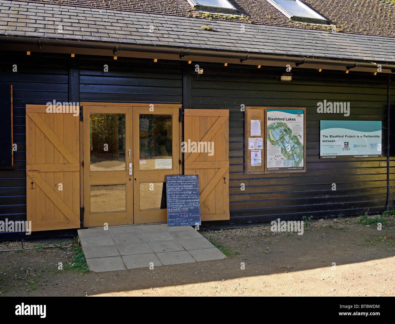 Entrée de Blashford Lakes Study Center, Hampshire, Royaume-Uni Photo Stock