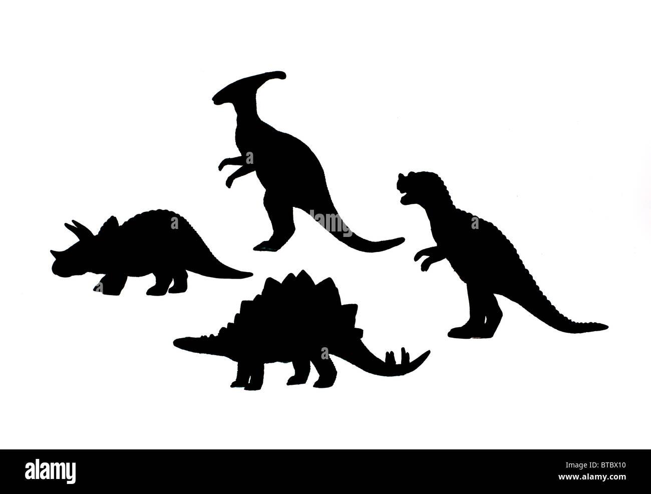 Silhouettes de dinosaures Banque D'Images