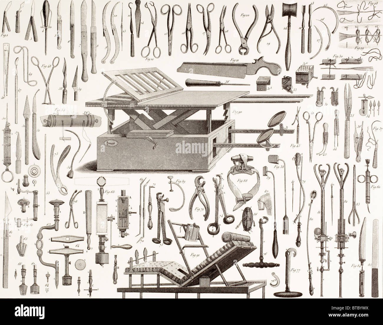 19e siècle les instruments chirurgicaux. Photo Stock