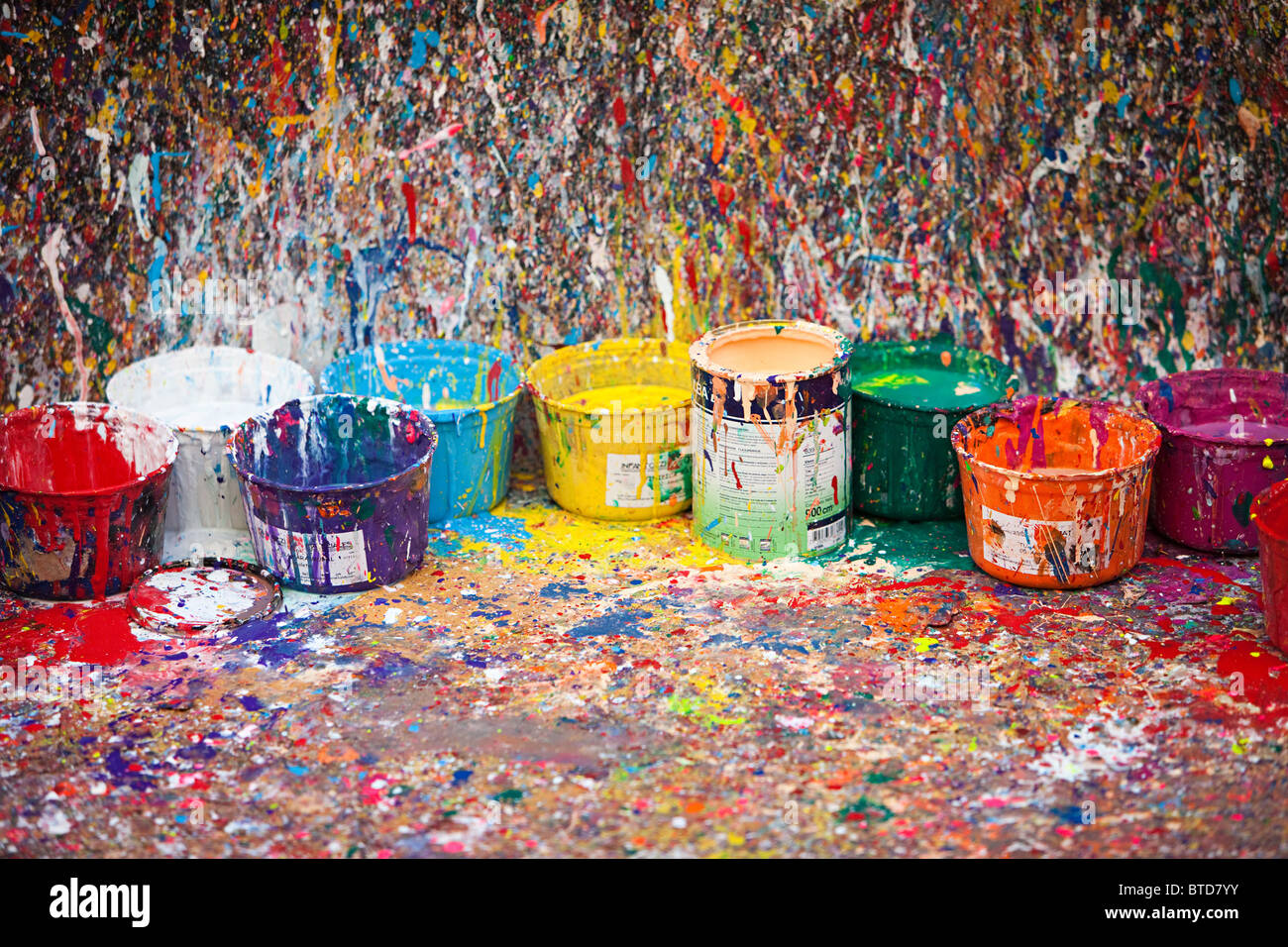 Splattered paint et pots, San Telmo, Buenos Aires, Argentine Photo Stock