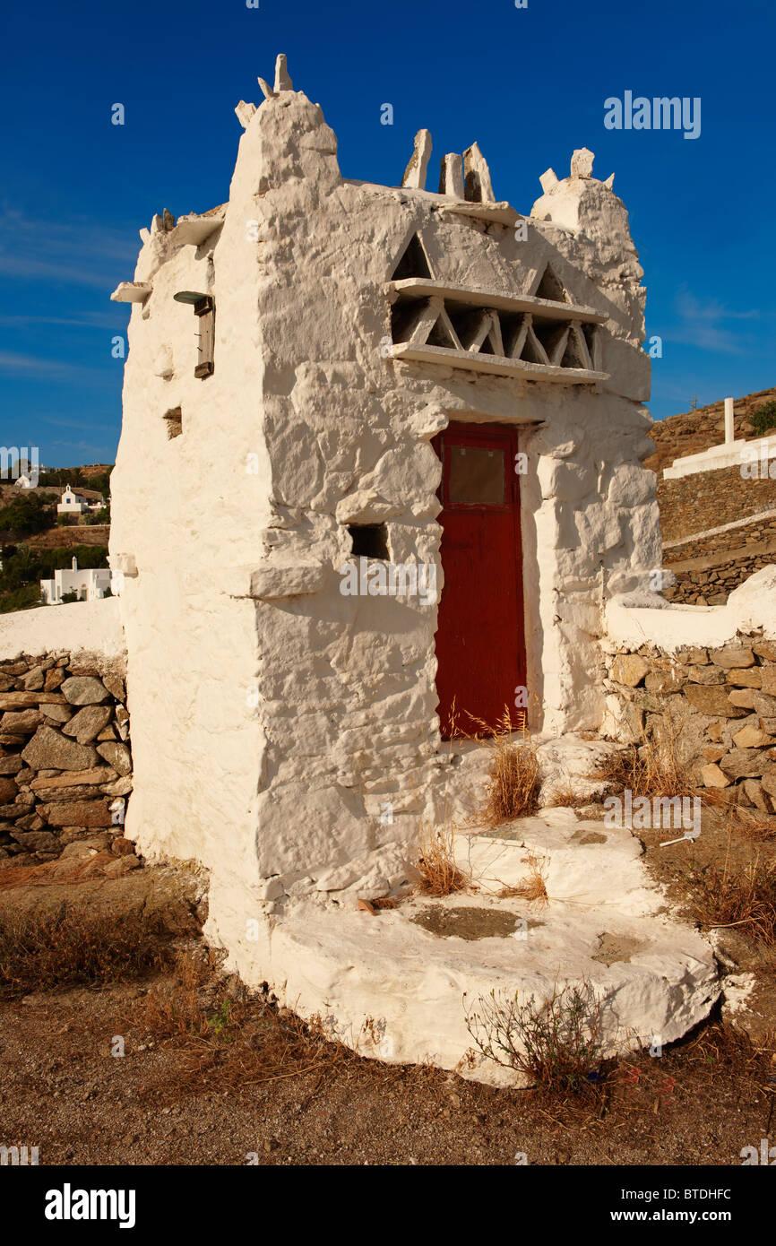La colombe-cote de le Musée du Folklore. La région de Mykonos Chora. Cyclades, Grèce Photo Stock