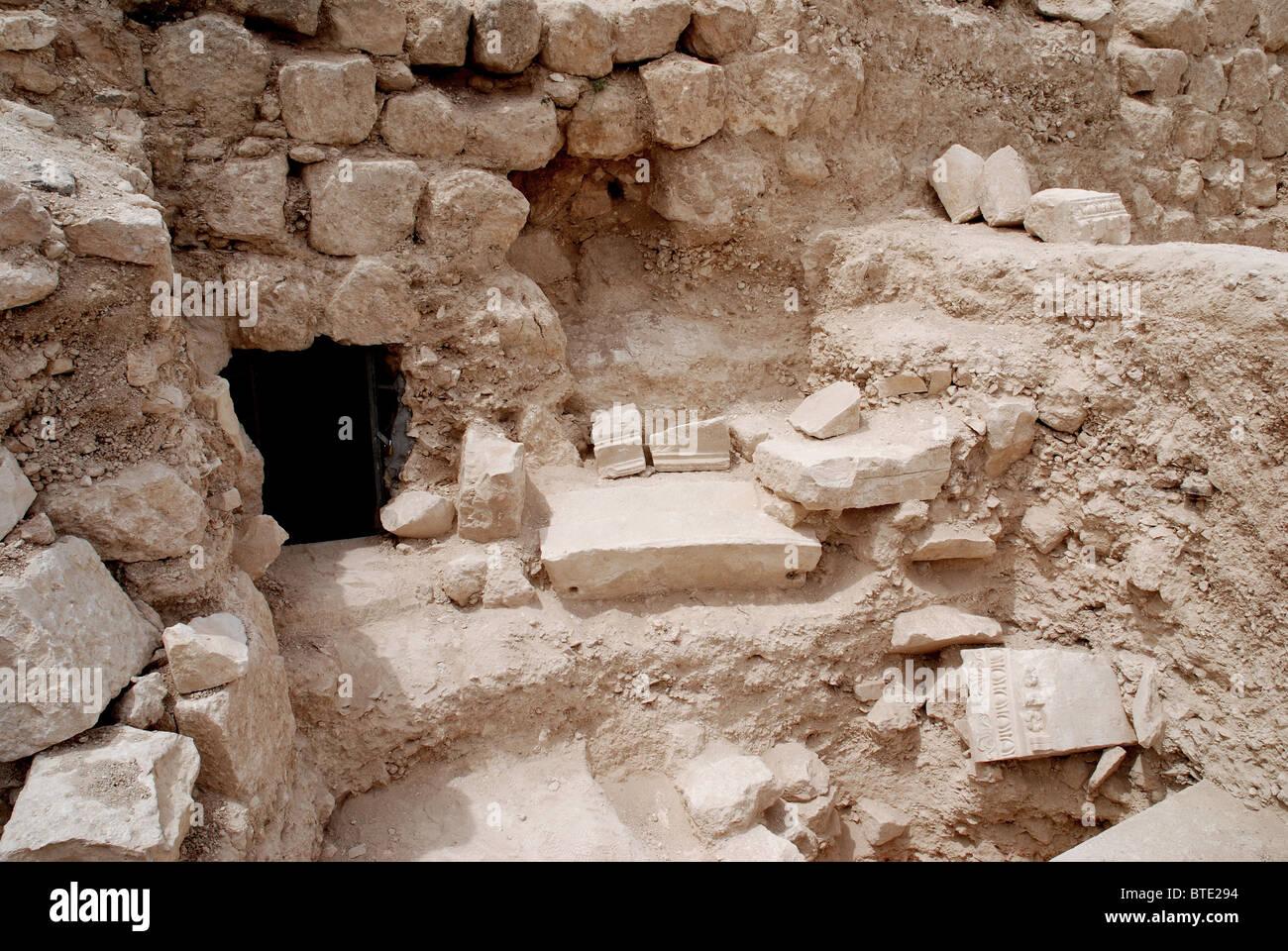 5371. Herodium, tombeau du roi Hérode. Premières étapes de fouilles. Photo Stock