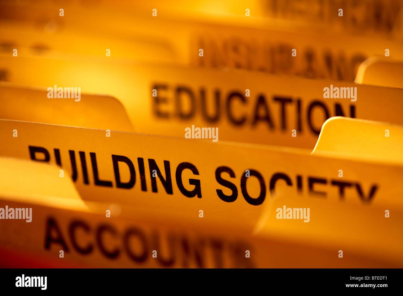 Comptes personnels en expansion compartiments fichier close up l'accent sur la construction de la société Photo Stock