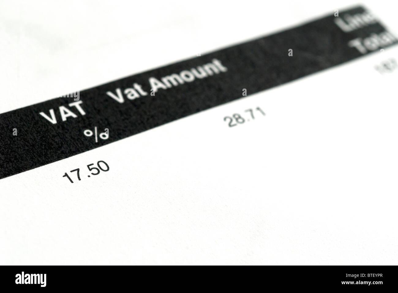 Reçu d'impôt TVA Photo Stock