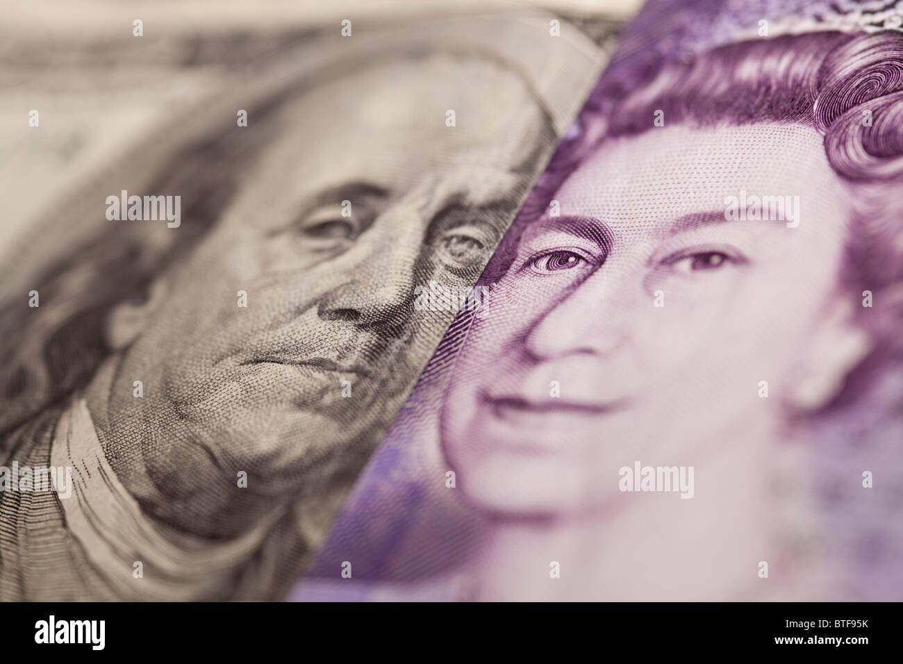 100 note 20 dollar et livre sterling bank note Photo Stock