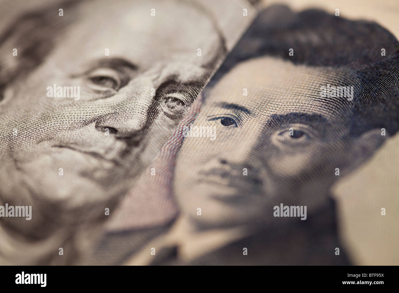 100 et 1000 yen dollar bank note Photo Stock