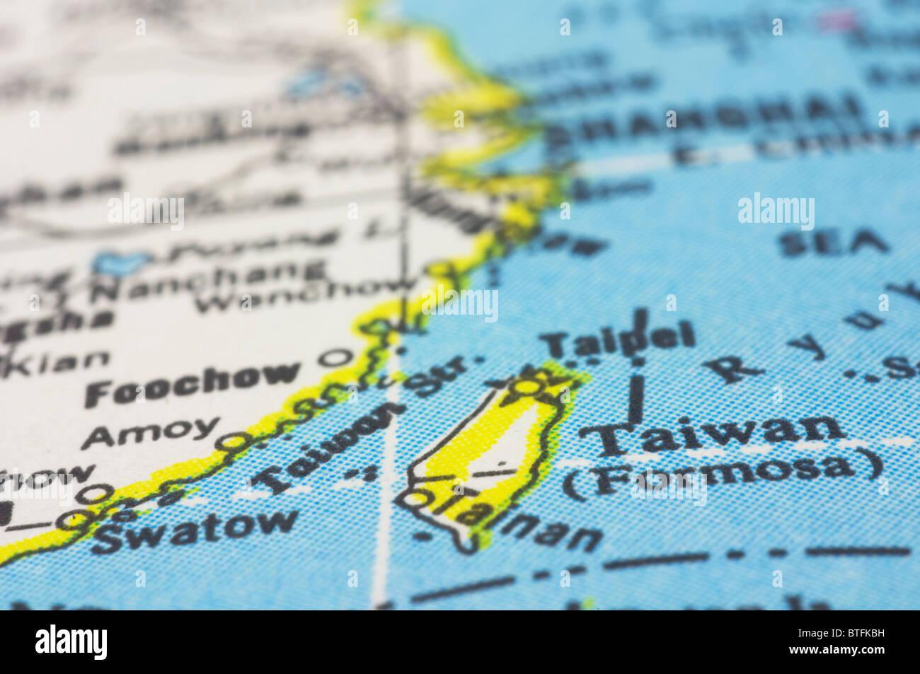 Carte Asie Taiwan.Taiwan Close Up La Carte Pays De L Asie Banque D Images