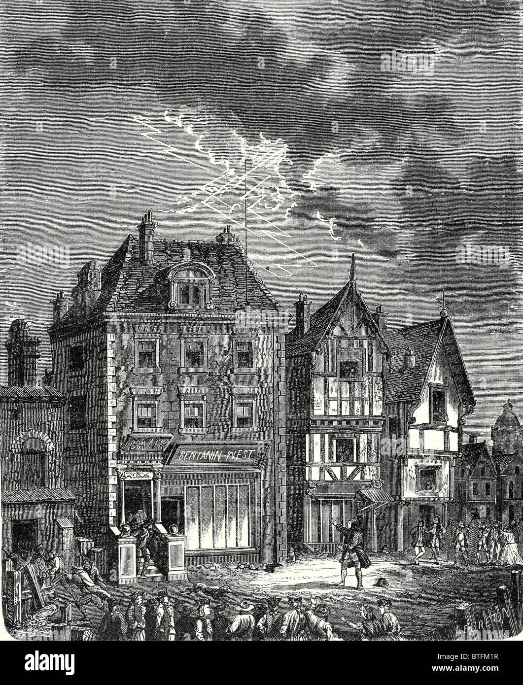 Le premier paratonnerre créé par franklin à philadelphie situé sur le toit de la maison
