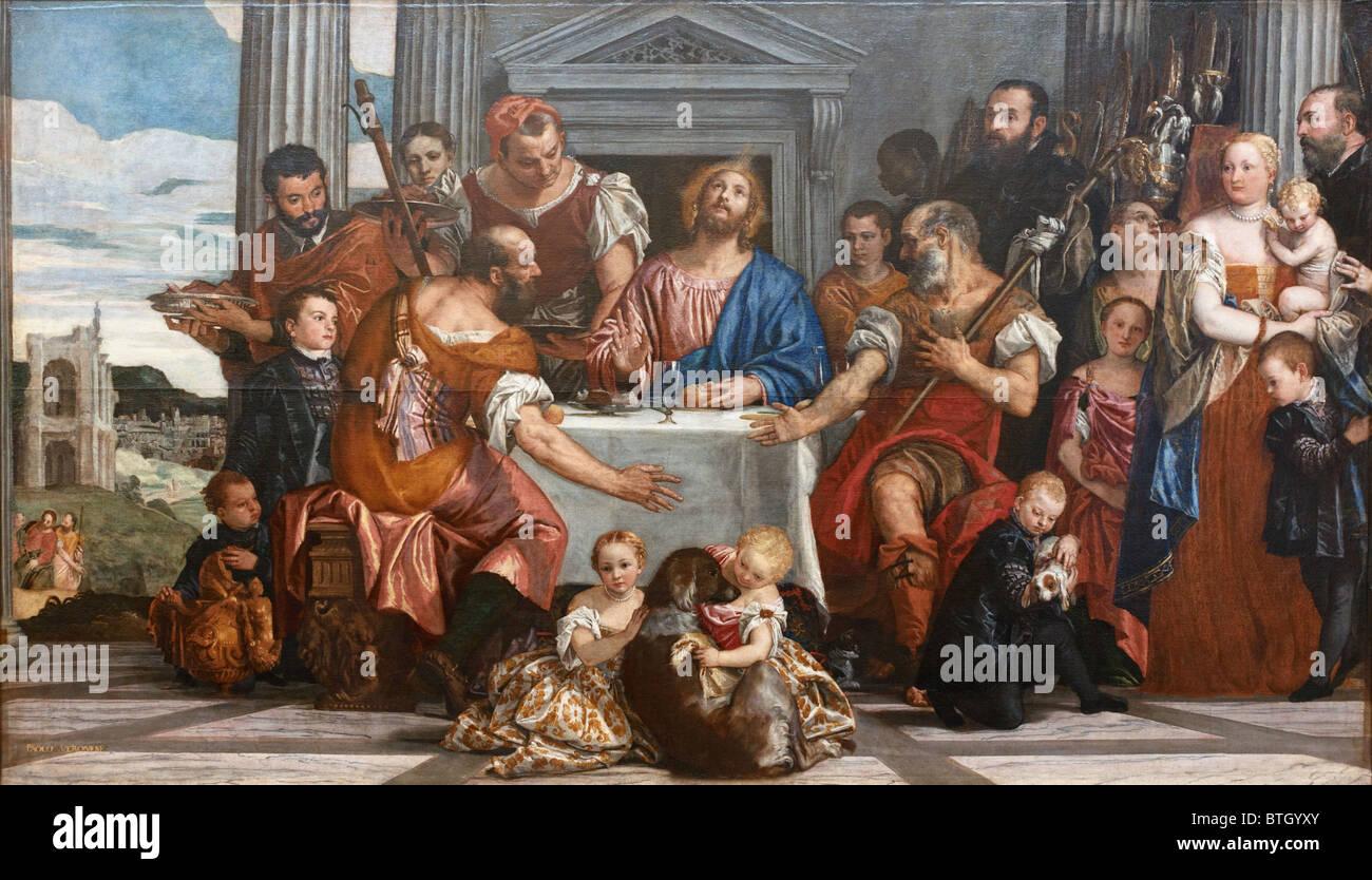 Le souper à Emmaüs par Paolo CALIARI dit Véronèse, au Musée du Louvre, Paris Photo Stock